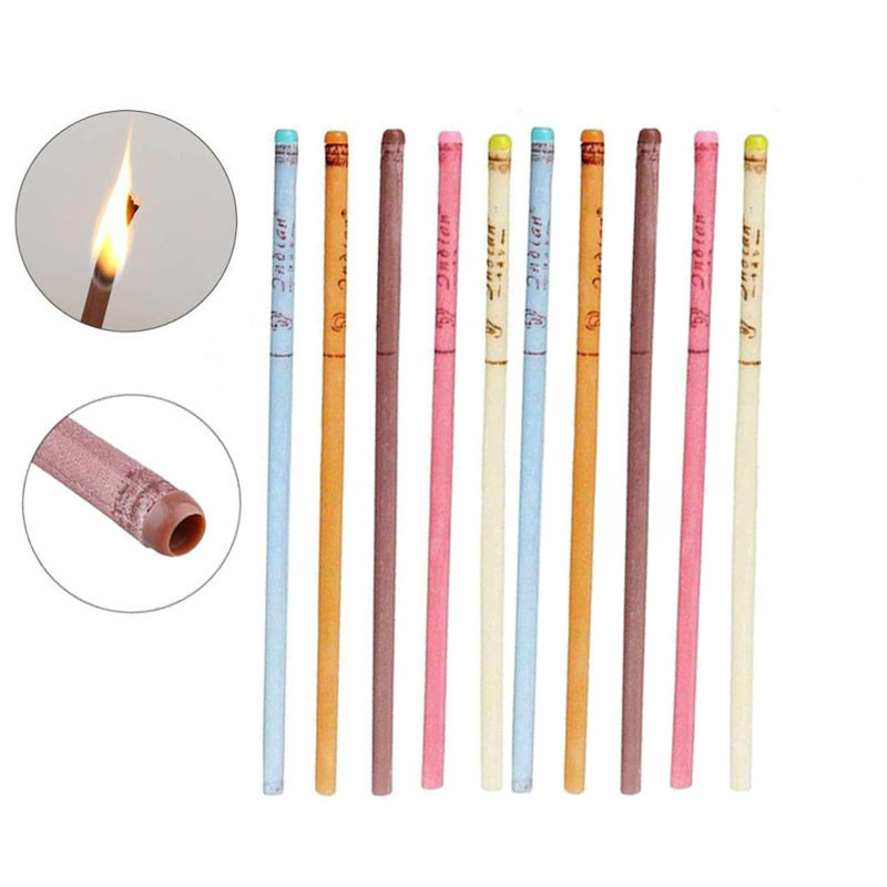 10pcs Aromatherapy Ear Candle Stick Beeswax Aroma Ear Treatment Beauty Health Care Multi-Scent Ear Wax Ear Candle With Earplugs