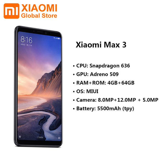 Xiaomi Mi Max 3 4GB 64GB Snapdragon 636 Octa Core Big Display 5500mAh Easy One-hand Use Smart Mobile Phone Max3 1