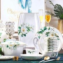 60 Head Dish Set Bowl Home Jingdezhen Ceramics Korean Style Gilt Palace Porcelain Tableware Dishes