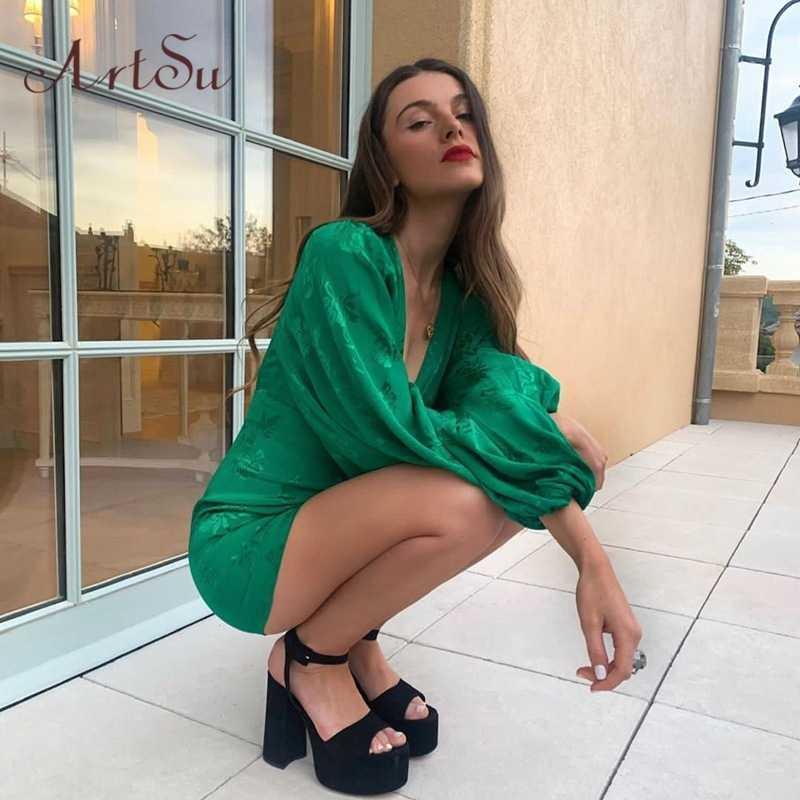 Artsu Nữ Satin Váy Xanh Cổ V Sâu Botton Đèn Lồng Tay Mini Nữ Sexy ĐẦM DỰ TIỆC Câu Lạc Bộ Thu ASDR60551