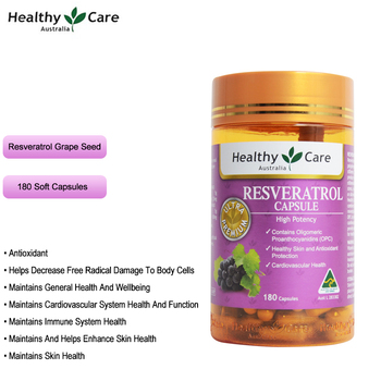 цена на Healthy Care Resveratrol 180Caps Antioxidant Grape Seed OPC Support Women Skin Cardiovascular Immune system Health Anti-ageing