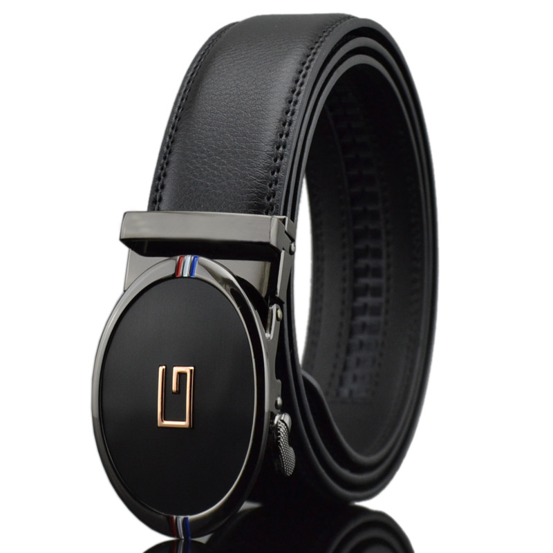 Men Belt Automatic Genuine Leather Luxury Black Belt Men s Belts Automatic Buckle High Quality Belt