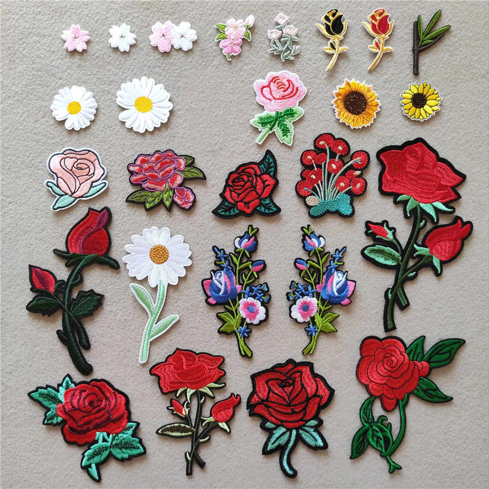 Rose Bloemen Patches Kleding Geborduurde Strepen Chrysant Badges Iron On Transfer Daisy Applicaties Stickers Voor Kleding