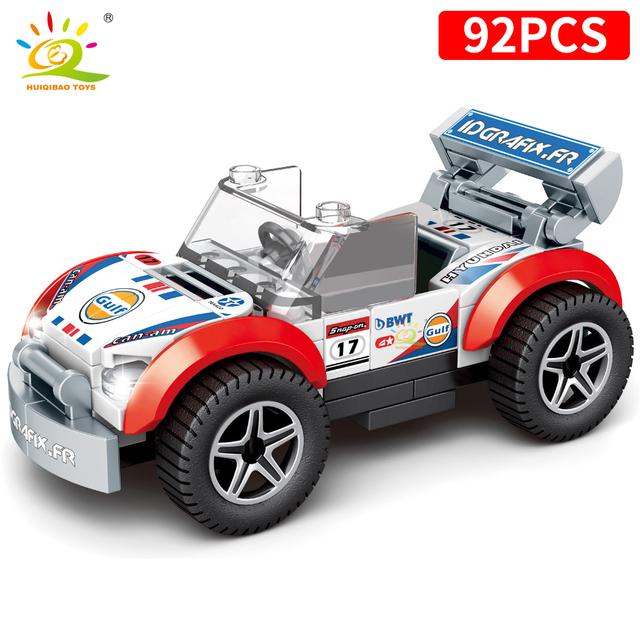 HUIQIBAO 4PCS/set 4in1 Speed Champions Racing Car Building Blocks city Automobile Sport Car Racer man truck Bricks Children toys