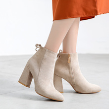 Women Autumn/Winter Boots Women Causal Ankle Boots Solid Shoes Women's  Pointed Toe Shoes High Heels Ankle boots For Female цены онлайн
