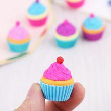 6pcs/set Kawaii Rubber Cake Dessert Cup Eraser Set For Kids Novelty Stationery