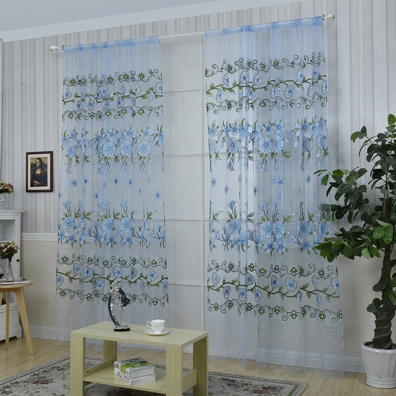 Flower Printed Tulle Curtains Bedroom Kitchen Living Room Decorative Curtains Hanging Tulle Curtains Hanging In The Living Room