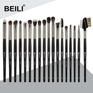 Image 1 - BEILI 메이크업 브러쉬 세트 18pcs 블랙 전문 자연 염소 조랑말 아이섀도 눈썹 블렌딩 아이 라이너 메이크업 브러쉬 세트