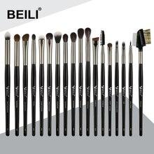 BEILI makyaj fırçası es seti 18 adet siyah profesyonel doğal keçi Pony göz farı kaş karıştırma Eyeliner makyaj fırçası seti