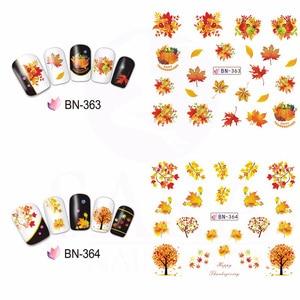 Image 5 - 12 pçs estilo outono água sliders para unhas maple leaf transferência de água etiqueta do prego decalques decoração projetos manicure JIBN361 372