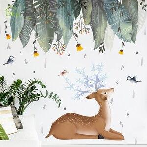Nordic wall stickers deer leav