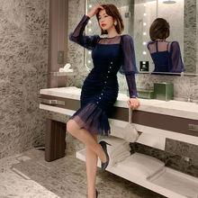 Новинка осени 2020 модное тонкое платье в горошек Сетчатое стиле