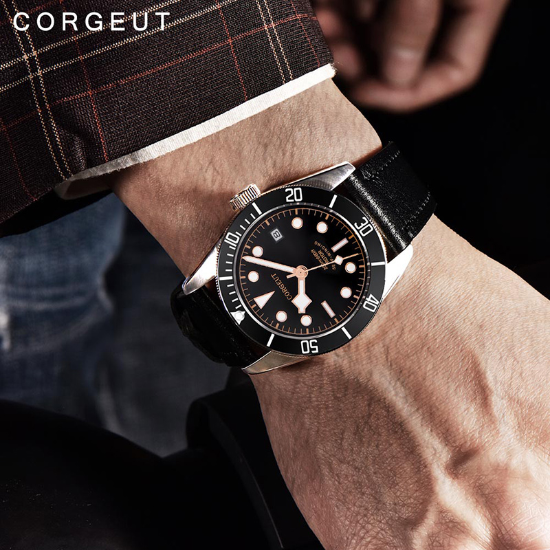 Corgeut 41mm Automatic Mechanical Watch Men Military Schwarz Bay Leather Strap Luminous Waterproof Sport Diver Male Wristwatch