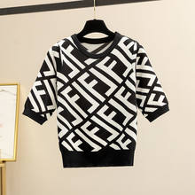 Letter Pullover 2021 Spring and Summer New Jersey Women's Short Sleeve Round Neck High Waist Short Slim Top Fashion