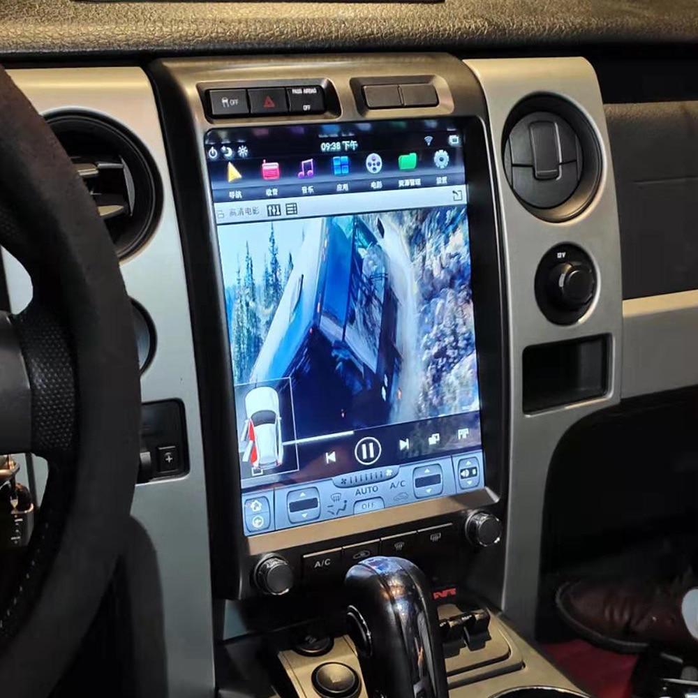 """13 """"android 9.0 64 + 4 tesla estilo navegação gps do carro para ford raptor f150 2009-2014 auto rádio estéreo multimídia player unidade de cabeça"""