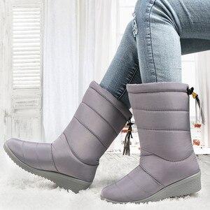 Image 3 - الثلوج الشتاء أحذية النساء منتصف العجل الأحذية مقاوم للماء جولة تو bottines فام النعال السيدات أحذية امرأة هامش أسفل بوتاس موهير