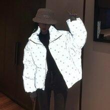 Inverno meninas jaqueta reflexiva mulheres streetwear curto parka oversize quente meninas jaqueta de inverno bling floco de neve algodão acolchoado casaco