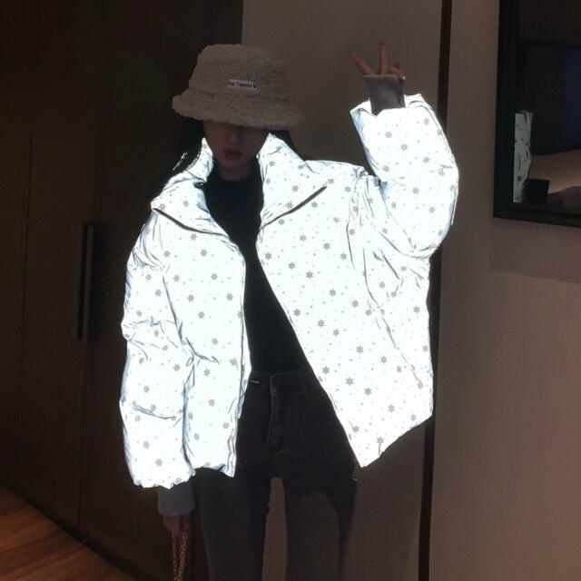 Winter Girls Reflective Jacket Women Streetwear Short Parka Oversize Warm Girls Winter Jacket Bling Snowflake Cotton Padded Coat