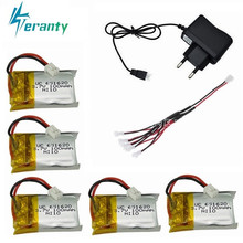 3.7v 100mah Lipo Batterij Lader sets Voor Cheerson Cx-10 Cx-10a FQ777-124 Hubsan Q4 Wltoys V272 Mini Rc Quadcopter drone Batterij(China)