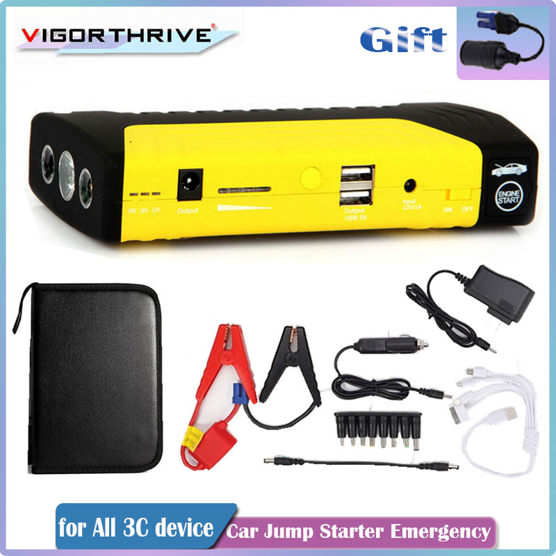 Car Emergency Booster Jump Starter Mini 12V 600A Power Bank Portable Starting Device For Petrol Diesel Multi-Function Charger
