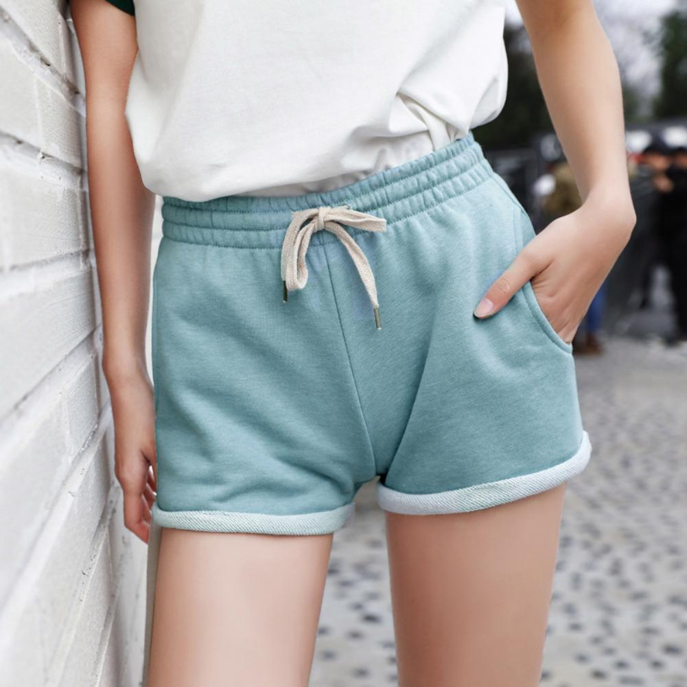 Shorts Women Summer Women Home Casual Loose Drawstring Pockets Middle Waist Wide Legs Shorts All-match Short Student Elegant