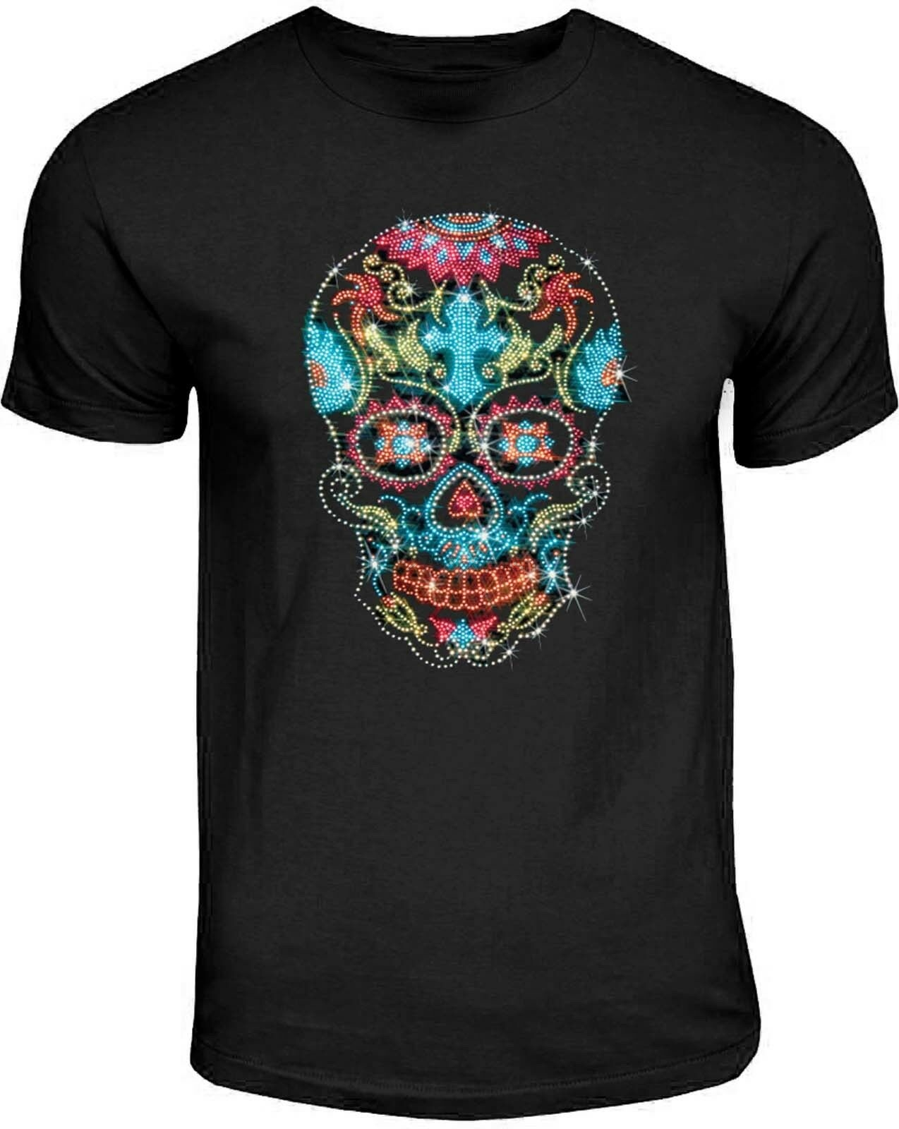Ladies Rhinestone SKULL Design Fitted T SHIRT ANY SIZE 8 TO 18 Goth Punk Rock