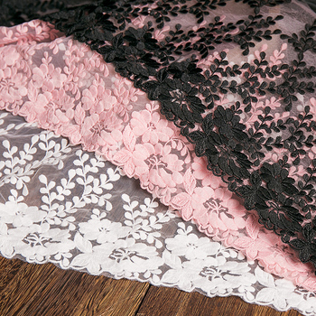 1Yard White Lace Fabric 32cm Width Cotton Embroidered Sewing Supplies Ribbon Lace Trim Dress DIY Garment Curtains Accessories beaded ribbon bilateral handicrafts embroidered trim fabric lace ribbon diy sewing skirt dress textile patchwork accessories