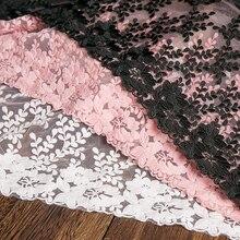 1Yard białe koronki tkaniny 32cm szerokość bawełniana haftowana materiały krawieckie wstążka sukienka z koronkowym wykończeniem do ubrania DIY akcesoria do zasłon
