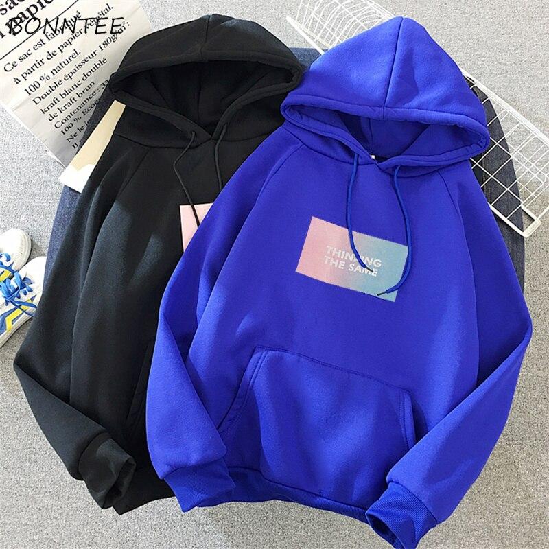 Hoodies Women Pockets Leisure Cartoon Printed Winter Thicker Plus Velvet Warm Korean Hoodie Womens Trendy Kawaii Sweatshirts