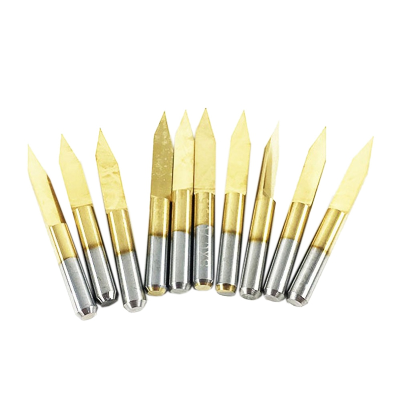 10x Titanium Coated Carbide Pcb Engraving Cnc Bit Router Tool 30 Degree 0.1Mm Tip