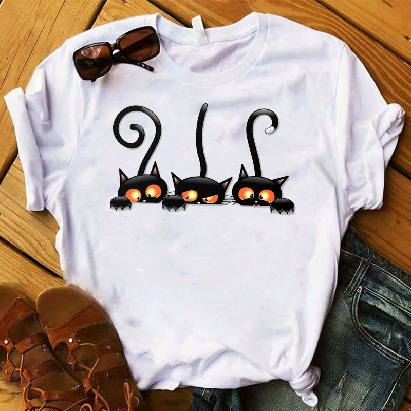Tshirt Female Shirt Ladies Clothes Women Fashion T-shirt  Womens Graphic Cat Paw Funny Cartoon Print Happy Halloween Fall Top