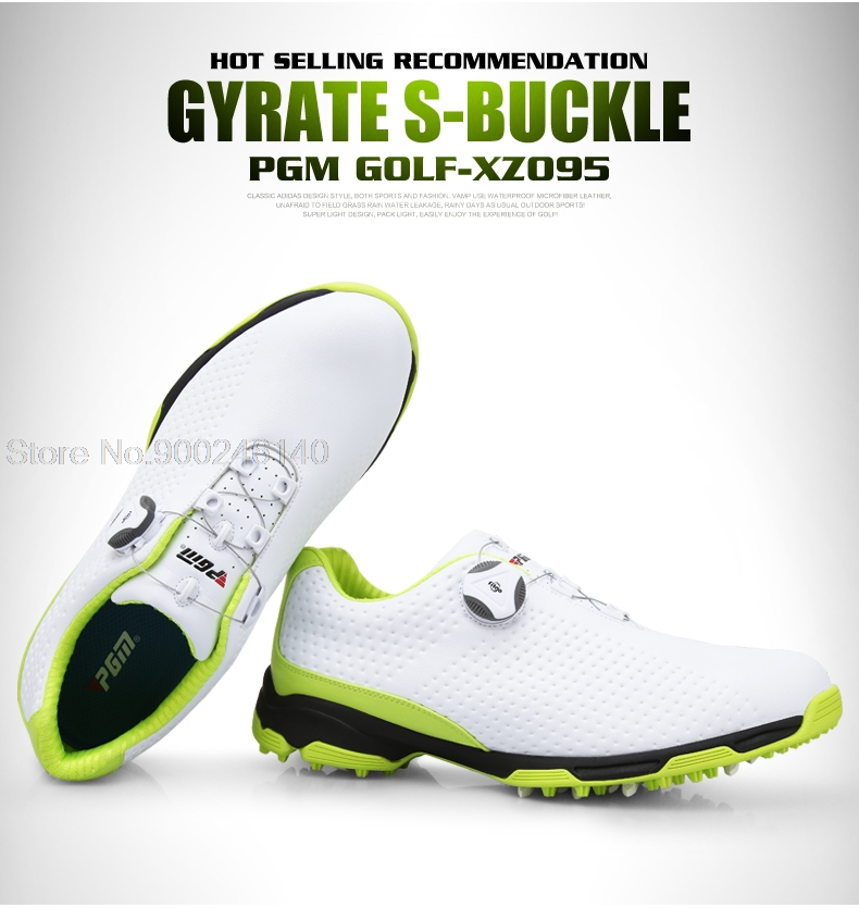 Pgm Golf Shoes Men Waterproof Sports Shoes Knobs Buckle Shoes Mesh Lining Breathable Slip Resistant Sneakers For Male Outdoor