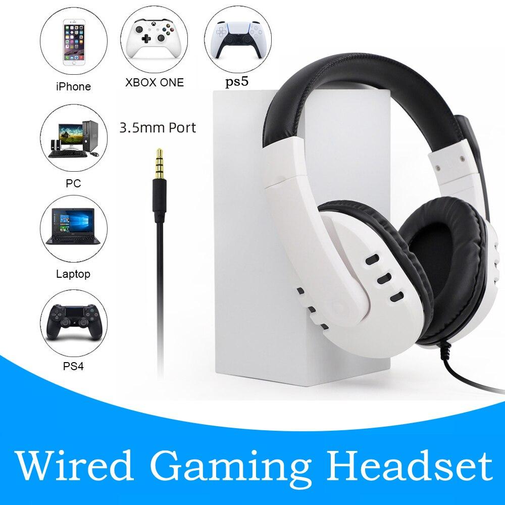 Проводная гарнитура PS5 для геймеров, ПК 3,5 мм, для Xbox one, PS4, ПК, PS3, NS, гарнитура с объемным звуком, игровые накладные, для ноутбуков, планшетов, г...