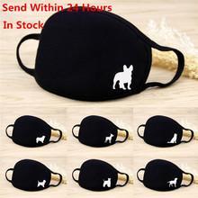 Face Mask Washable Reusable Cute Dog Print Cotton Dustproof Breathable Mouth Mask Protective Multi-Purpose Black Face Cover #716