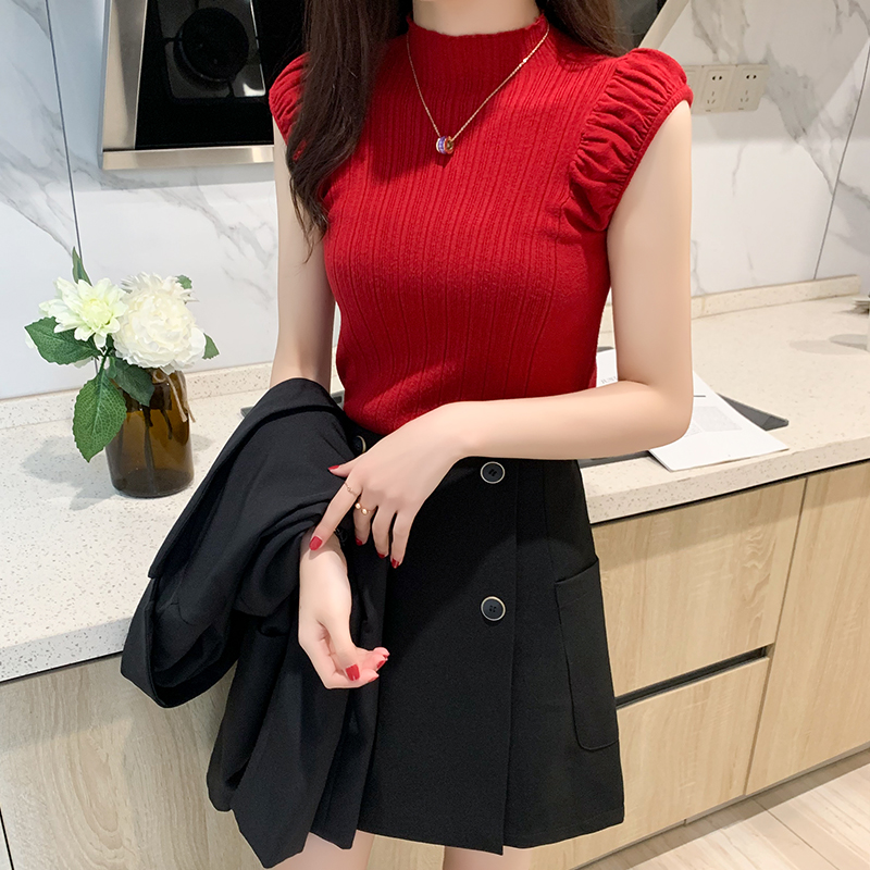 HELIAR Women Tank Tops Summer Knitted Turtleneck Tank Tops Ladies Sexy Slim Tops Female Puff Sleeve Casual Tops For Women Summer 6