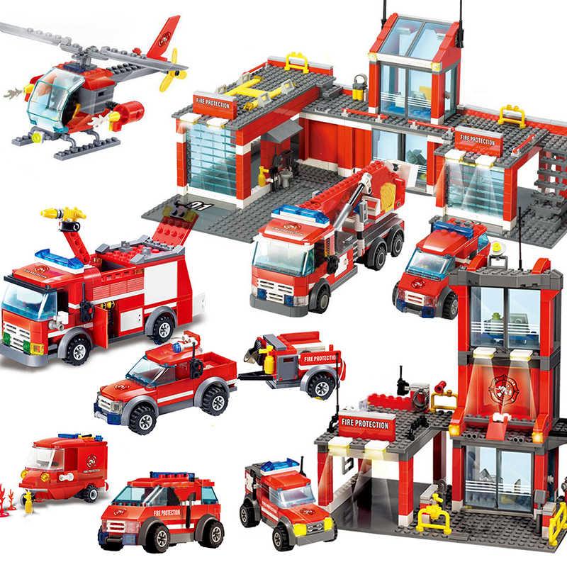 KAZI City Fire Engine Station strażak zestawy klocki ciężarówki rescue car zabawki edukacyjne dla dzieci cegły