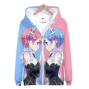 Image 3 - Japão anime re zero hoodie com capuz jaqueta com zíper casaco moletom para homem feminino roupas da menina do miúdo rem e ram zíper casacos