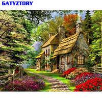GATYZTORY, зеленый дом, сделай сам, краска по номерам, пейзаж, современная настенная художественная картина, каллиграфия, краска, акриловая краск...