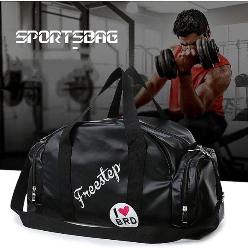 Black Sport Travel Duffel Bag For Men With Shoe Compartment Women Gym Bags Lightweight Training Shoulder Yoga Handbag