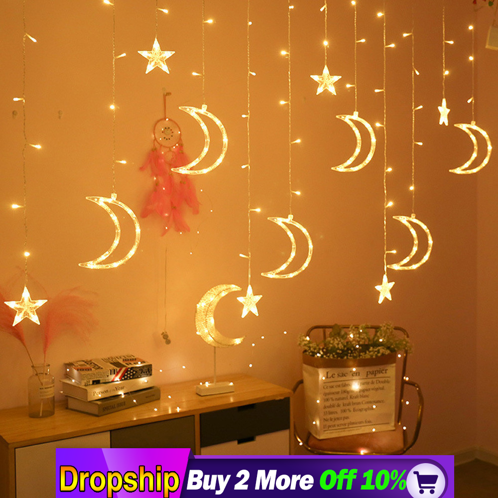 220V Moon Star Light LED Light String Ins Christmas Light Decoration Dropshipping Selling  Christmas Accessories Furniture Decor