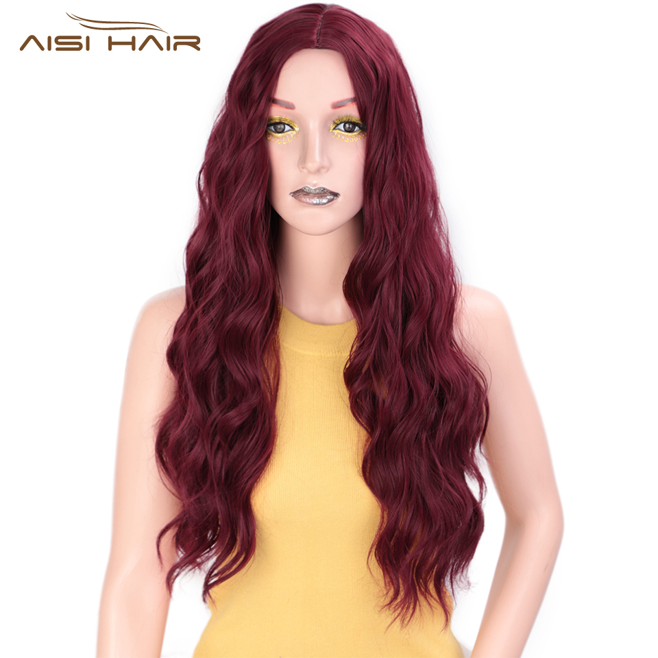 I's A Wig Synthetic Red Black Dark Brown And Ombre Blonde Wigs Long Water Wave Cosplay Wigs For Women Middle Part Nature Hair