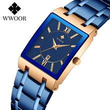 WWOOR 2021 Fashion Blue Stainless Steel Mens Watches Top Brand Luxury Square Quartz Watch Men Sport Waterproof Date Dropshipping
