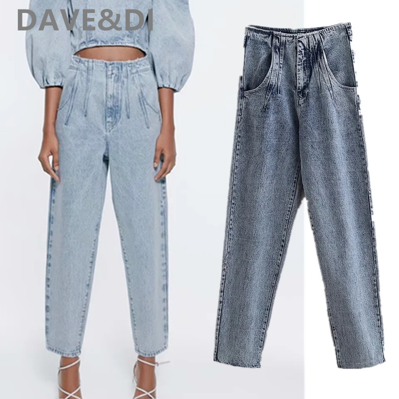 Dave&Di Englandhigh Street Vintage Washed Mom Jeans Woman High Waist Jeans Loose Harem Jeans For Women Boyfriend Jeans For Women