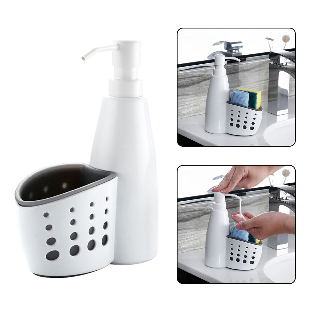 2 In 1 Dispenser And Storage Box Plastic Liquid Detergent Container Sponge Drainboard Soap Holder Rack Cleaning For Bathroom