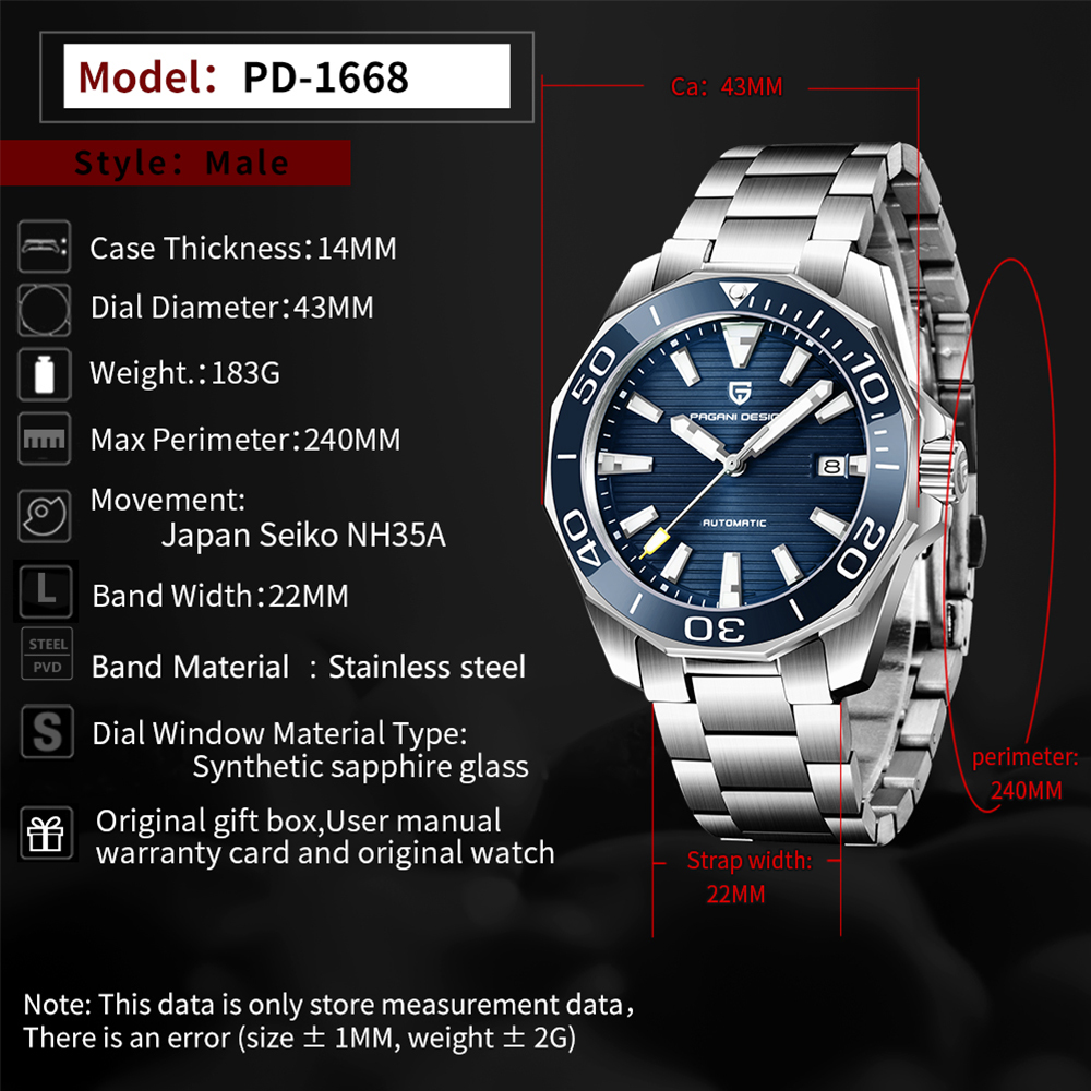 PAGANI DESIGN Top Brand Mechanical Wristwatch Luxury Sapphire Glass Automatic Watch Stainless Steel Waterproof 100M Watches Men 2