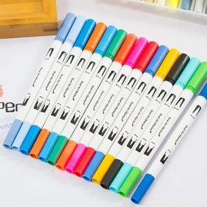 Image 3 - 72 farben Dual Tip Pinsel Marker Stifte Pastell Aquarell Stift Feine liner Kunst Liefert für Zeichnung Färbung Bücher Schreibwaren