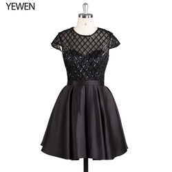 שחור פורמליות שמלה לנשף קצר אלגנטי O-צוואר קצר שרוול קוקטייל שמלות אירוע מיוחד שמלות vestido דה coctel 2019