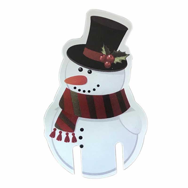 10 sztuk świąteczna czerwona kartonowa ozdoba na kieliszek do wina Xmas Hat święty mikołaj bałwanek karta nowy rok lampka do wina papier kartonowy świąteczne dekoracje nowy