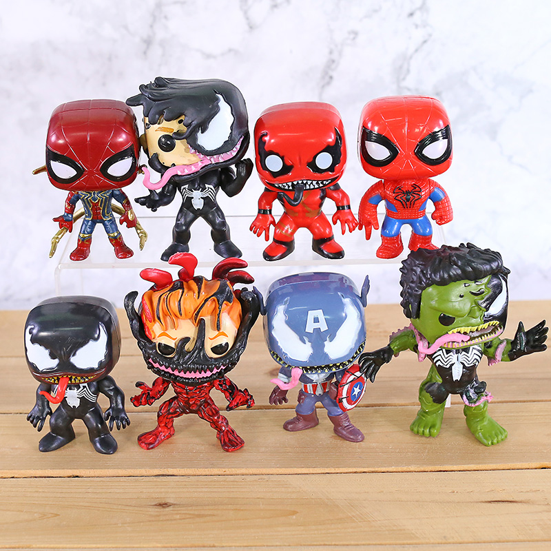 Deadpool Action Figures Minifigures 8pcs Set Bobble Head Dolls Car Accessories