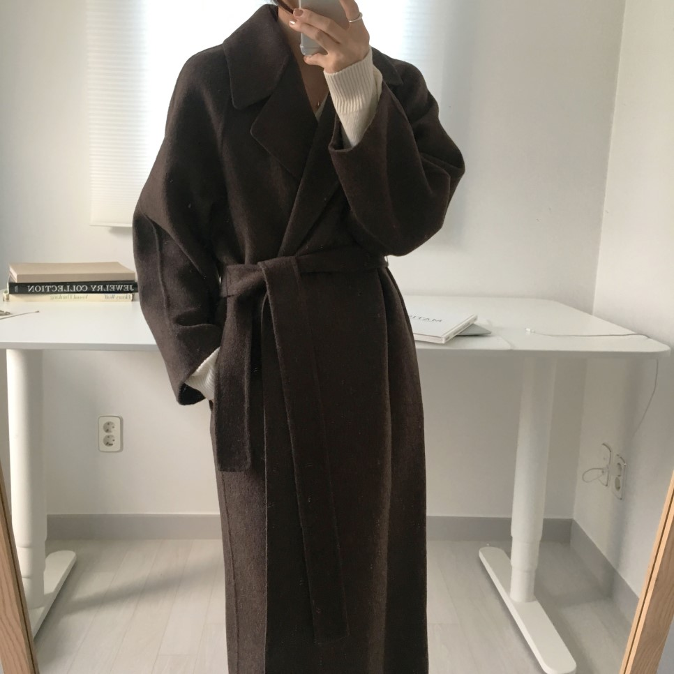 H47caba85e70643378b9138a3e3a7e8d8q - Winter Revers Collar Solid Woolen Overcoat with Belt